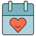 calendar, date, heart, love, sweet, valentine icon