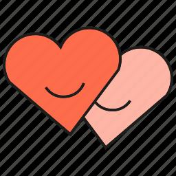 couple, hearts, love, smile, valentine icon
