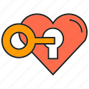 heart, key, lock, love, secret icon