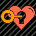 heart, key, lock, love, secret icon