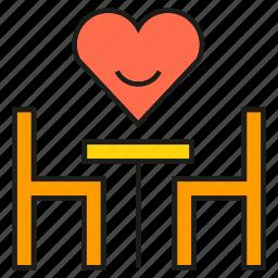desk, dinner, heart, love, restaurant, wedding icon