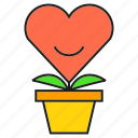 gift, heart, love, plant, pot, valentine