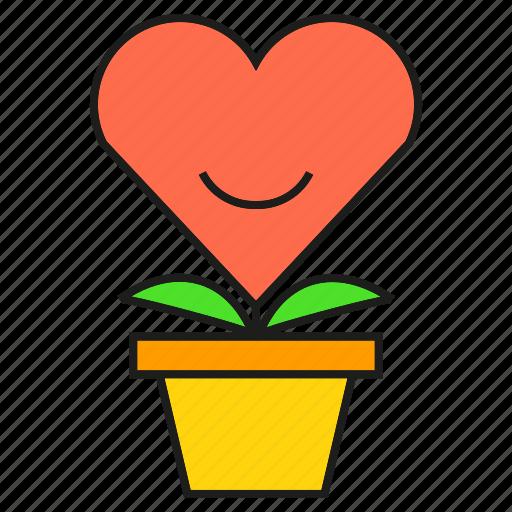 gift, heart, love, plant, pot, valentine icon