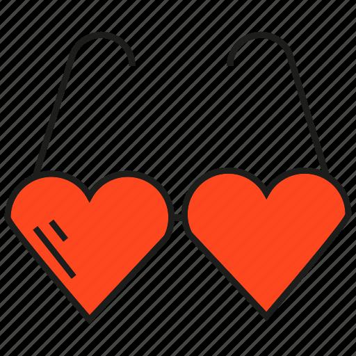 eyeglass, heart, love icon
