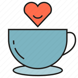 coffee cup, cup, drinks, heart icon