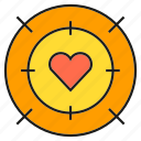 crosshair, heart, love, valentine, wedding icon