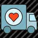 delivery, heart, love, send, truck, valentine, wedding icon