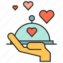 dinner, hand, heart, love, serve, valentine icon
