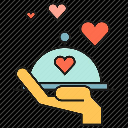 dinner, hand, heart, love, serve, valentine icon
