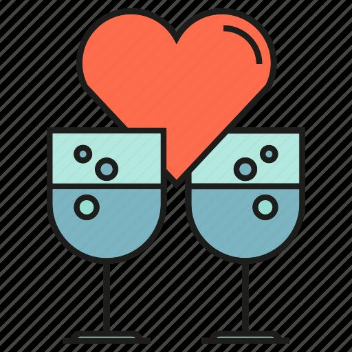 drinks, heart, love, valentine, wedding, wine glass icon
