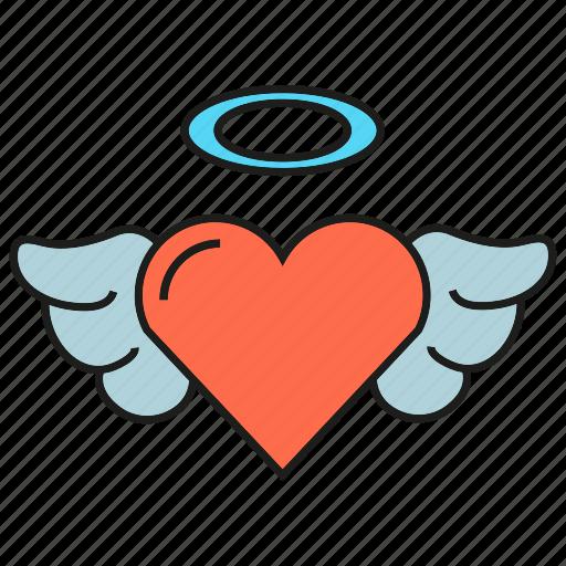angel, heart, love, valentine, wedding, wing icon