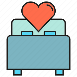 bed, heart, love, valentine, wedding icon