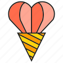 cone, heart, love, valentine, wedding icon