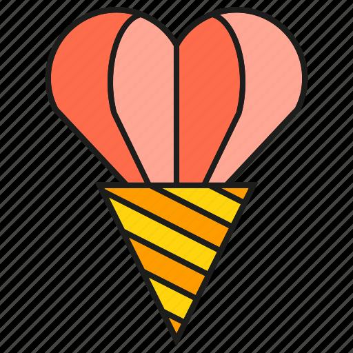 cone, heart, love, valentine, wedding icon