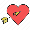 arrow, bow, heart, love, valentine, wedding icon