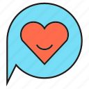 heart, love, speech bubble icon