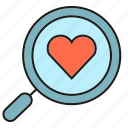 heart, love, magnifier, search icon