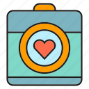 camera, gadget, heart, love icon