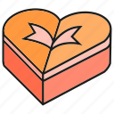 box, gift, heart, love icon