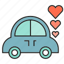 car, heart, love, sweet, wedding car icon