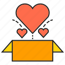 box, gift, heart, love, present, valentine icon