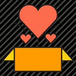 box, gift, heart, love, present, valentine icon