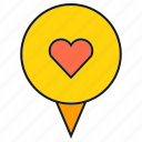 heart, love, pin, pointer icon