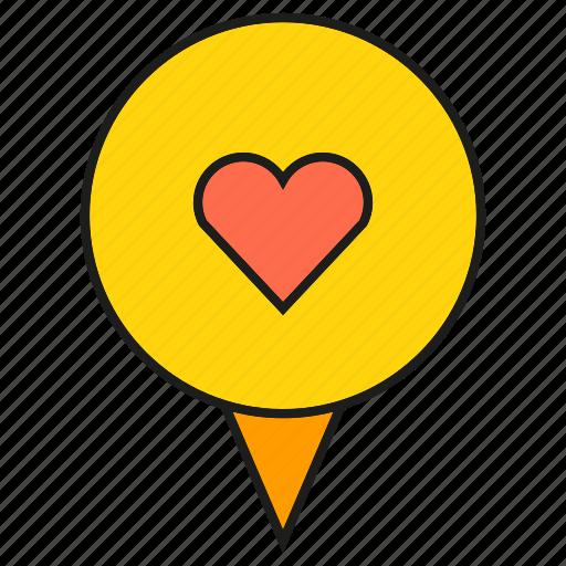 heart, love, pin, pointer icon