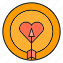 bow, dart, heart, love icon