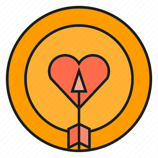 bow, dart, heart, love icon