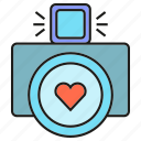 camera, heart, love, wedding icon
