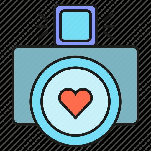 camera, heart, love, wedding icon