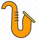 instrument, jazz, music, saxophone, sound icon