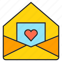 email, envelope, heart, letter, love, mail icon