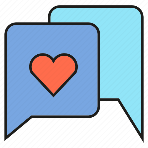 chat, heart, love, speech bubble icon