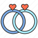 couple, heart, love, wedding rings icon