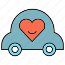 heart, love, marriage ceremony, wedding car icon