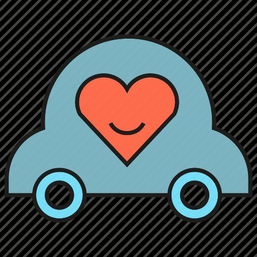 heart, love, marriage ceremony, wedding car icon