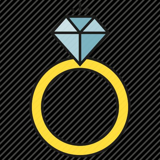 adamant, diamond, gem, jewel, ring, wedding ring icon