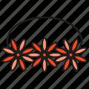 corona, crown, diadem, flower, flower crown icon