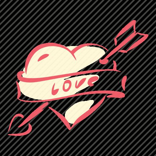 arrow, cupid, heart, love, marriage, valentines, wedding icon