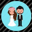 bride, couple, wedding, wedding day, wedding dress, wedding icon, wedding suit icon