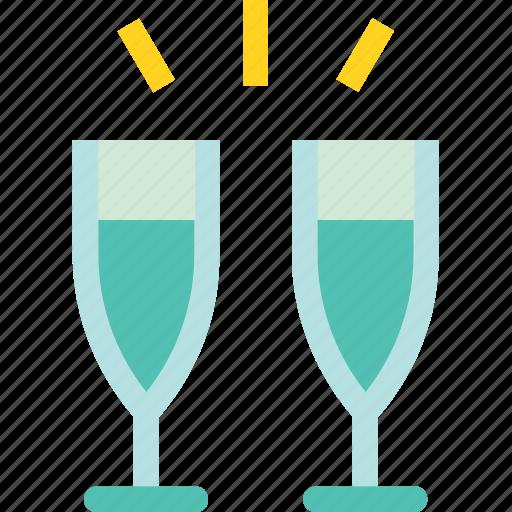 drink, glass, set, wedding, wine icon