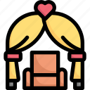 wedding chair in wedding arch, couple, marriage, aisle, party, love, wedding day icon