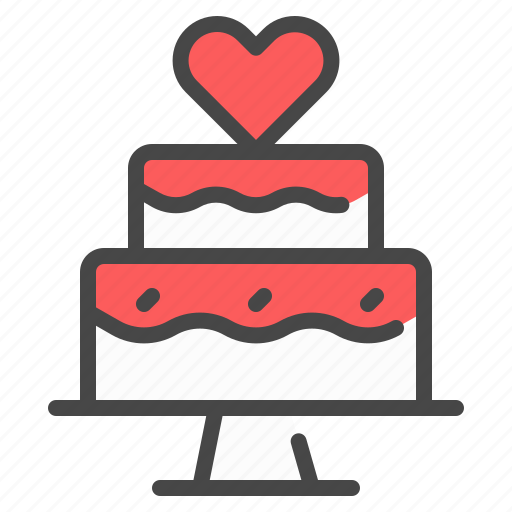 cake, heart, love, marriage, party, wedding icon