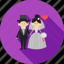 bride, couple, dress, groom, happy, smile, wedding icon