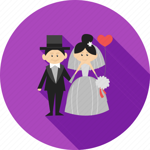 bride, couple, dress, groom, happy, smile, wedding icon
