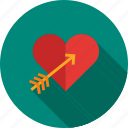 arrow, day, design, heart, love, valentines, watercolor icon