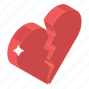 breakup, broken heart, cracked heart, heartbreak, injured heart icon