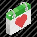 calendar, daybook, event, planner, reminder, schedule, valentines day icon